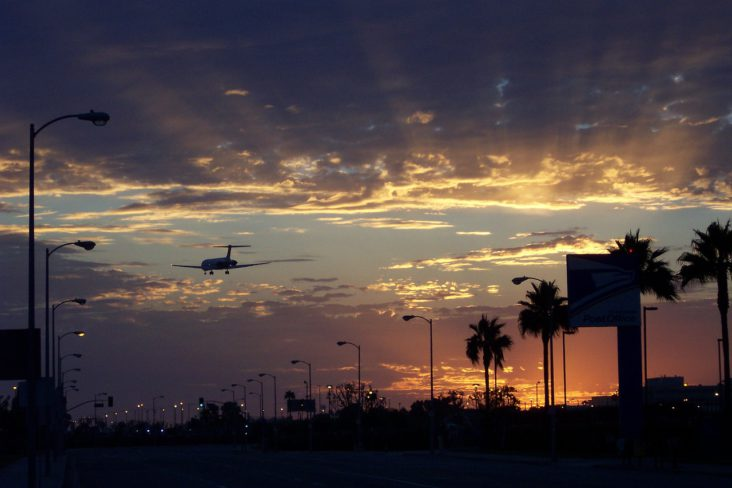 Aircarft landing at LAX