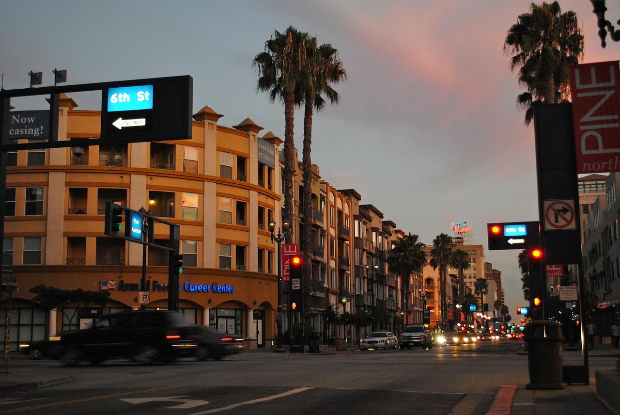 Dusk in Long Beach, CA.