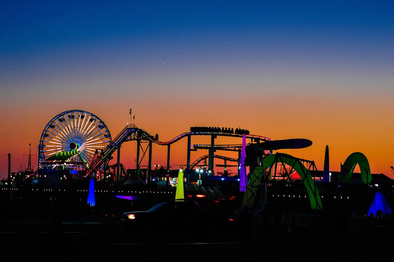 Santa Monica Pier at Sunset.