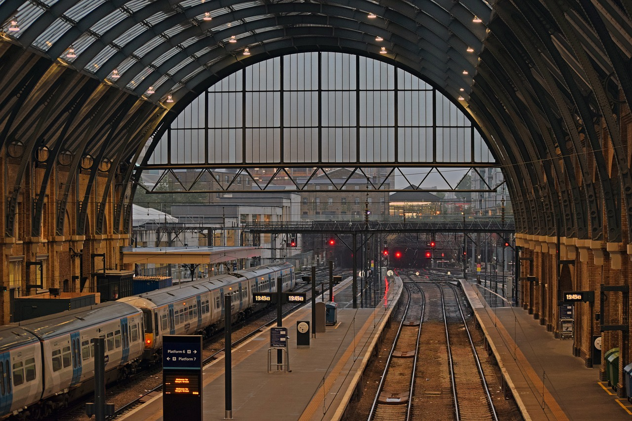 A train at King's Cross Station in London.