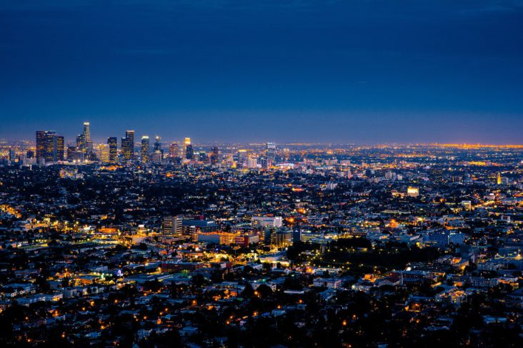 The downtown Los Angeles skyline at night.