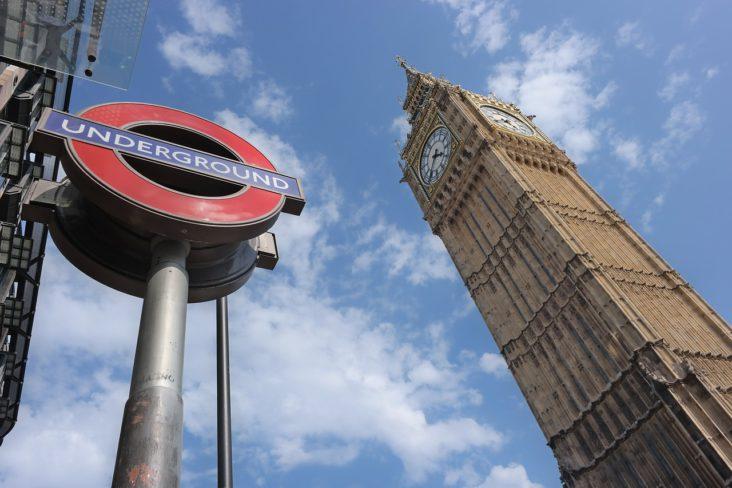 Big Ben at Westminster tube station.