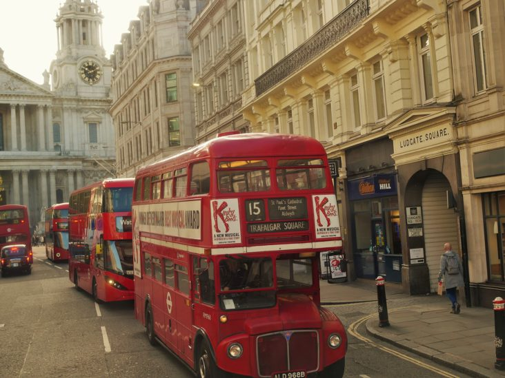 Buses parked in London.