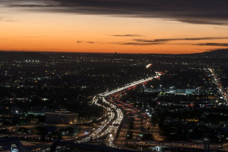 Los Angeles freeway at dusk.