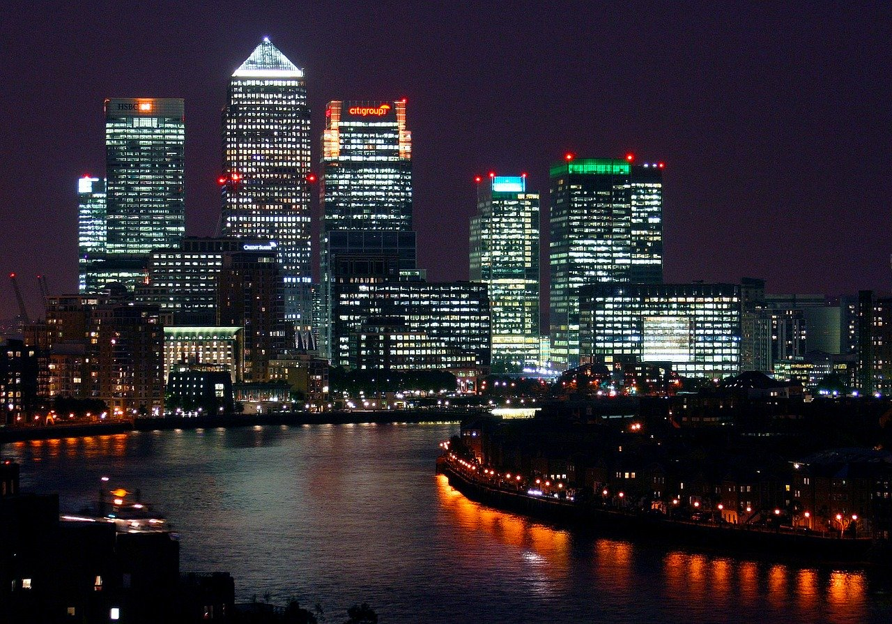 London skyline at night.