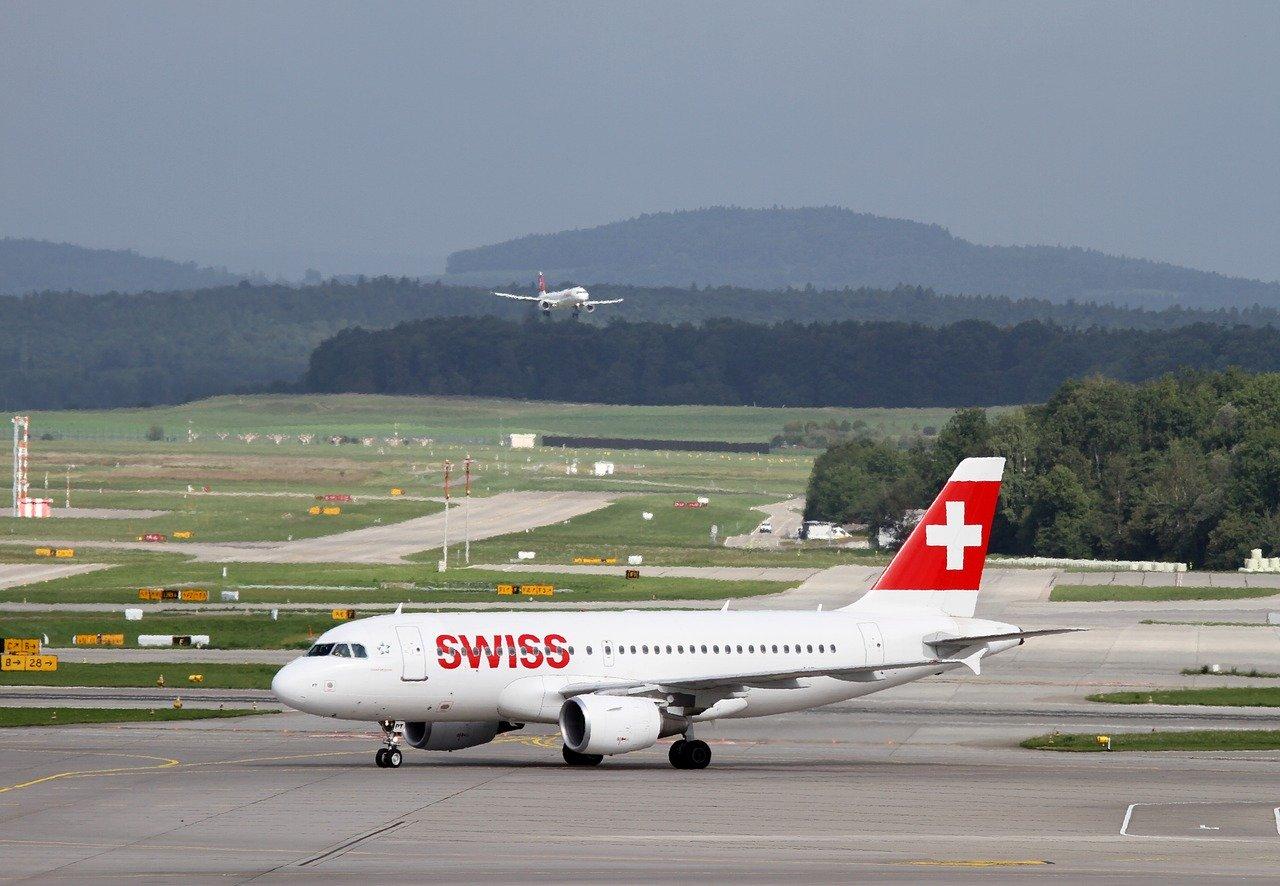 A Swiss Air Lines jet at Zurich Airport.