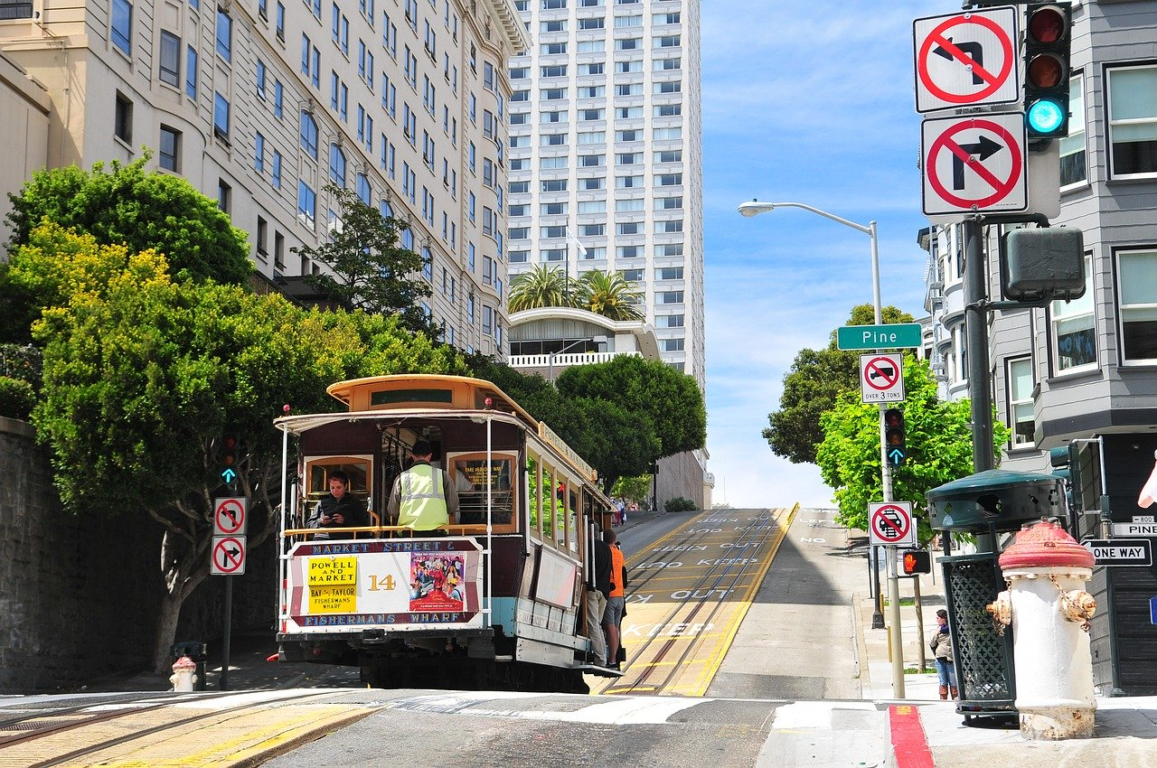 A cable car in downtown San Francisco.