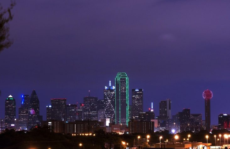 Downtown Dallas at dusk.