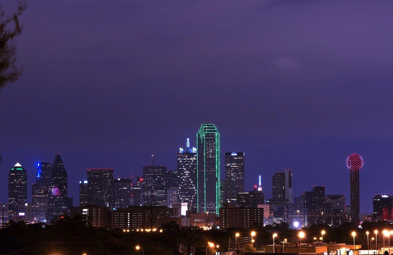 Downtown Dallas at dusk.