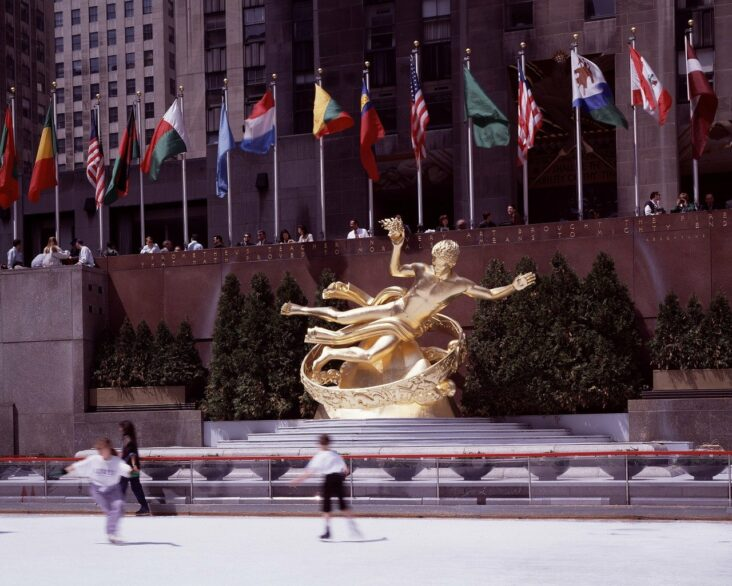 Ice skaters at Rockefeller Center in NYC.