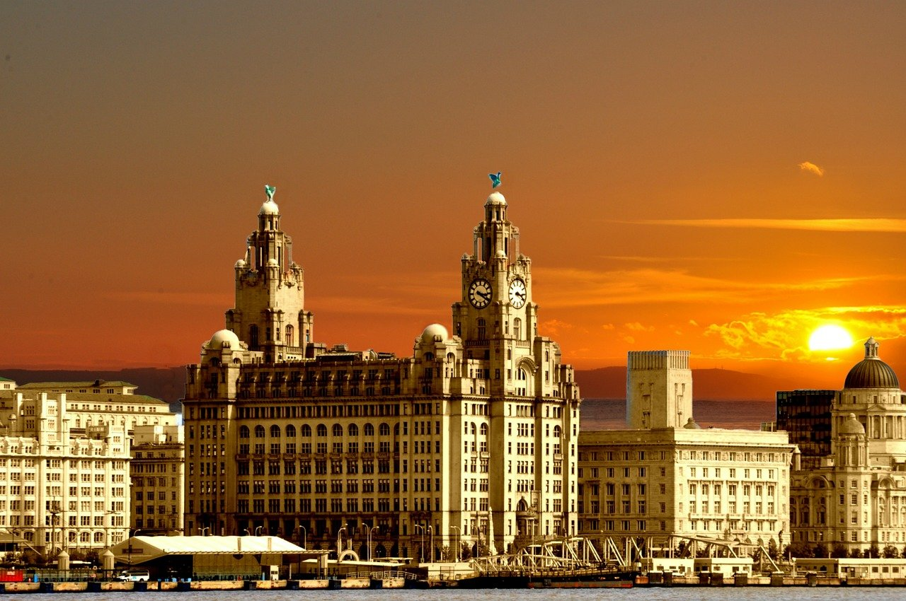 Sunset in Liverpool, England.