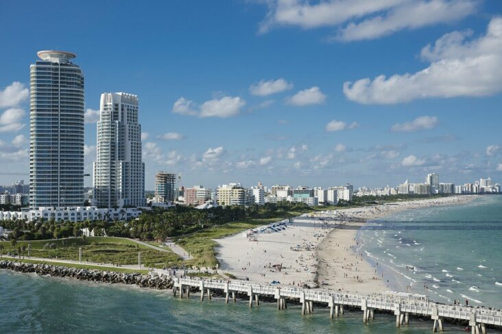 Beachfront hotels in Miami Beach, Florida.
