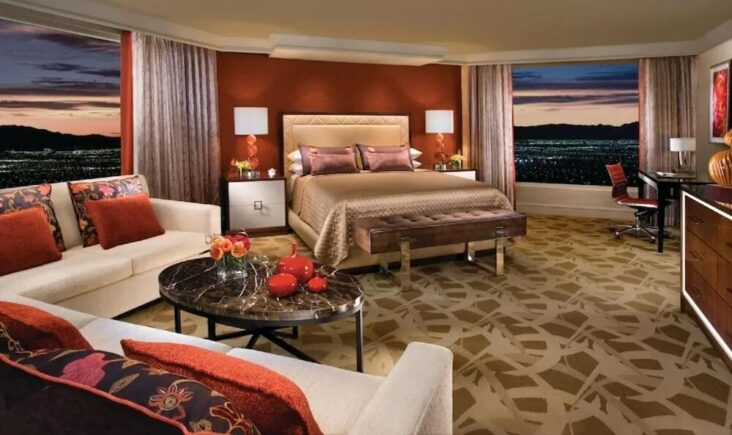 A suite at the Bellagio, one of the hotels on the Las Vegas Strip with jacuzzi suites.