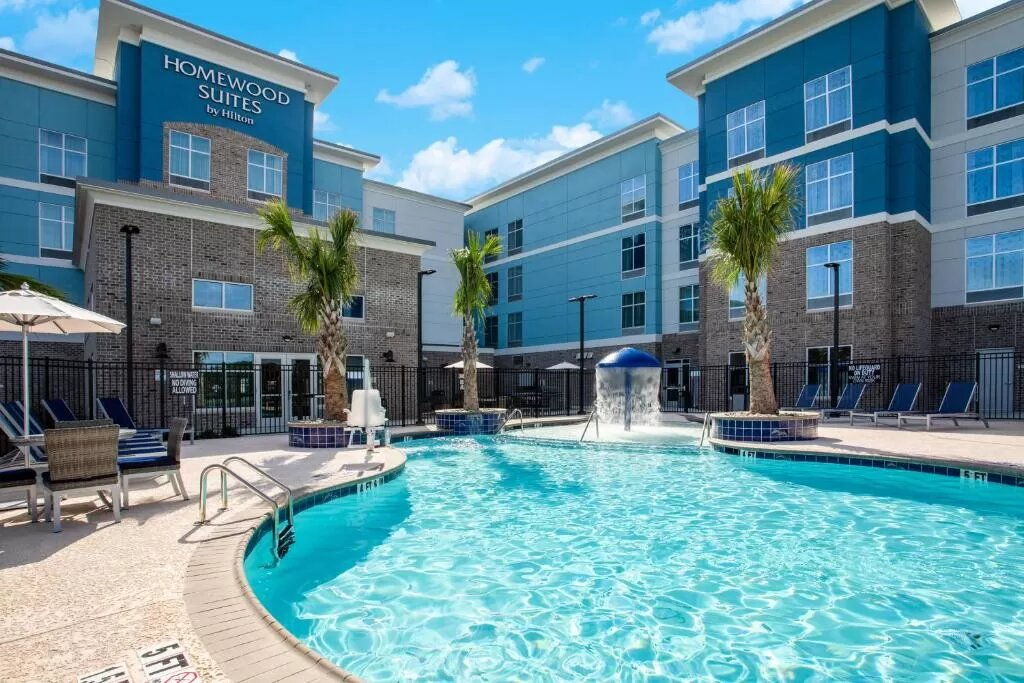 The Homewood Suites by Hilton Myrtle Beach Grand Coastal Mall, one of the hotels near Myrtle Beach Airport.