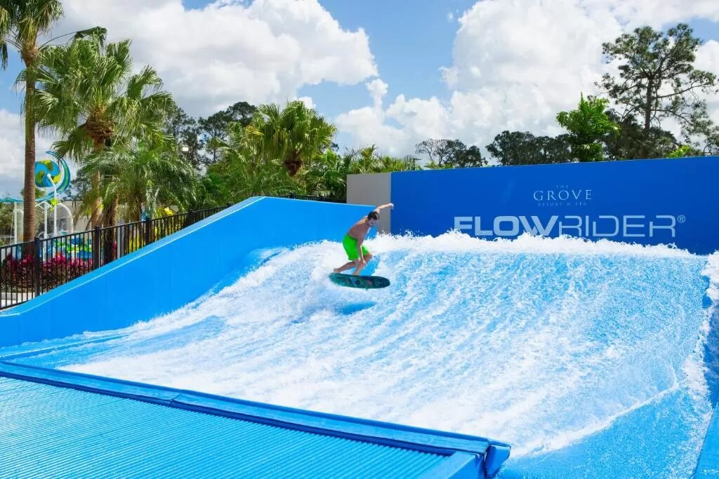 Surf simulator at The Grove Resort, one of the hotels in Orlando with a water park.