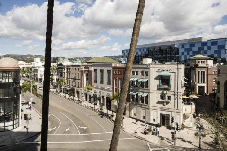 A view of Rodeo Drive from the Beverly Wilshire, one of many hotels in Beverly Hills, CA.