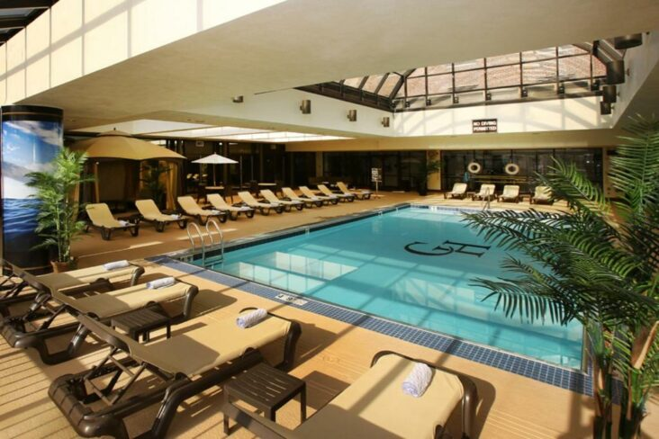 The indoor swimming pool at The Claridge, one of numerous hotels in Atlantic City, NJ.