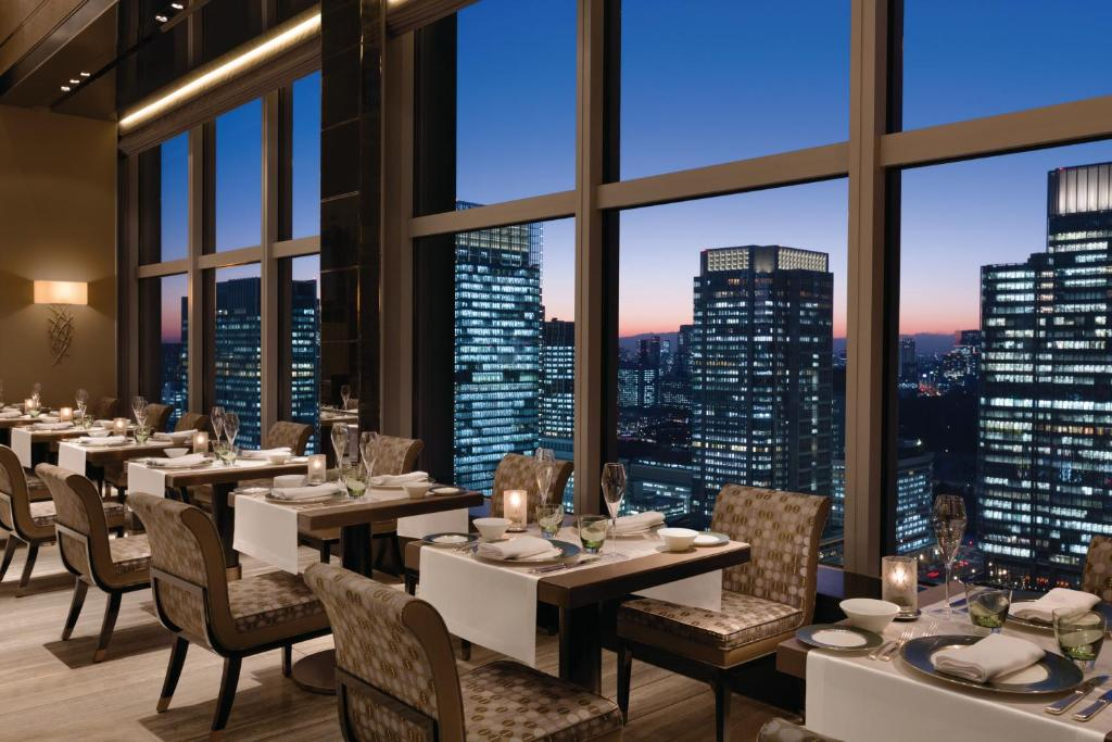 A rooftop restaurant at the Shangri-La Hotel Tokyo, one of the hotels near Tokyo Station.