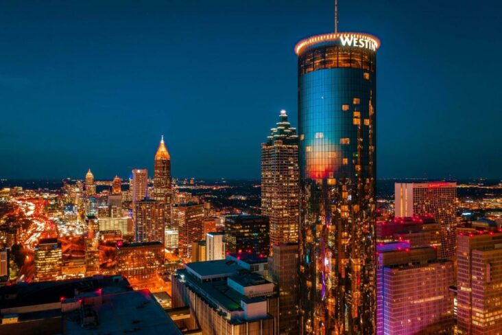 The Westin Peachtree Plaza Atlanta, one of numerous hotels in downtown Atlanta, Georgia.
