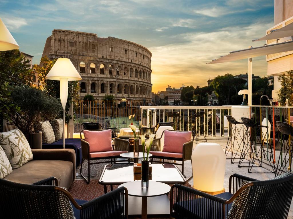 The view from the Hotel Palazzo Manfredi, one of the hotels near the Rome Colosseum.