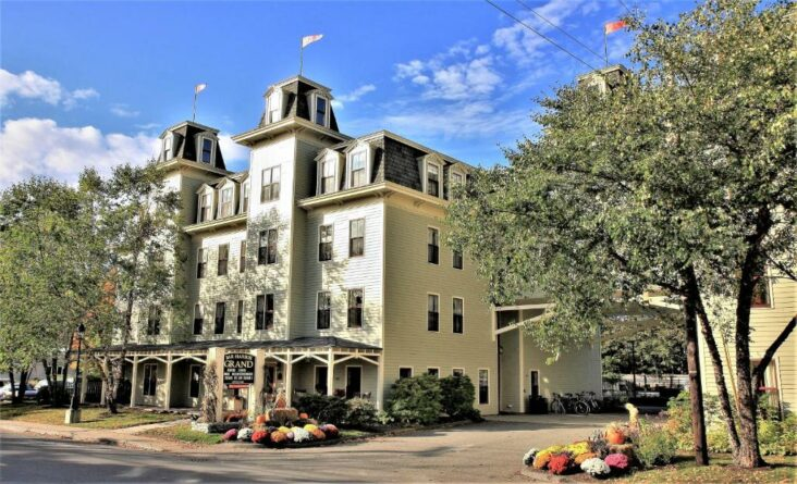 The Bar Harbor Grand Hotel, one of numerous hotels in Bar Harbor, Maine.,