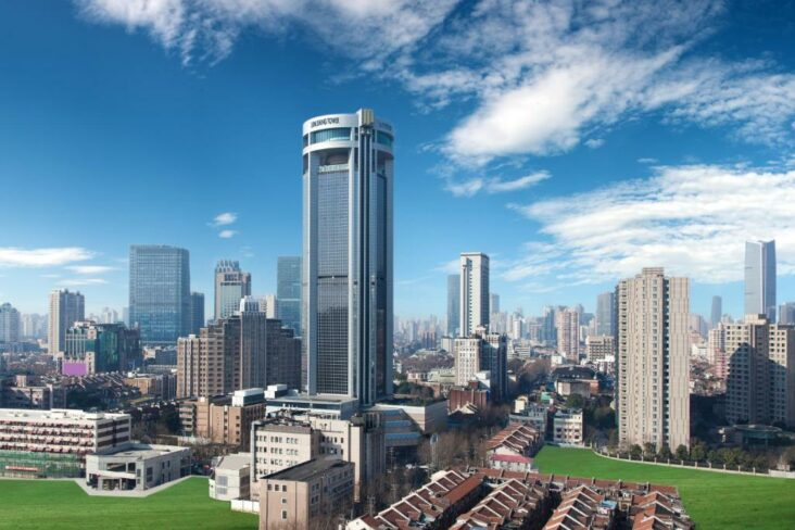 The Jin Jiang Tower, one of many hotels in Shanghai, China.